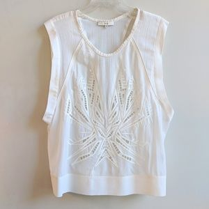 EUC IRO WHITE SILK CUT OUT BLOUSE SIZE 40
